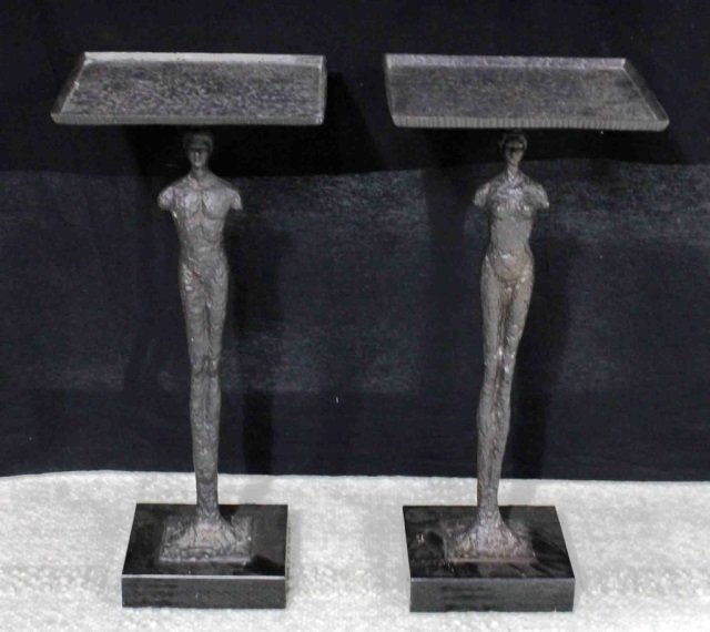 Pair of Bronze Figural Tables