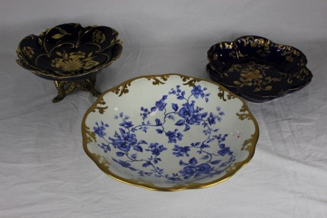 Three Serving Bowls with Gold Edging