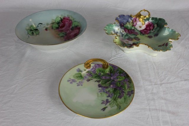 Three German Hand Painted Dishes - Signed