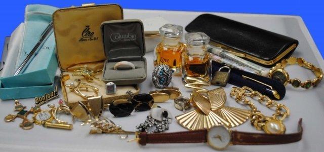Assorted Costume Jewelry, Trinkets, Pens, Perfume
