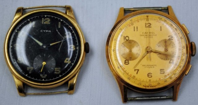 2 Men's Gold Watches - Cyma 14K and Carrol 18K