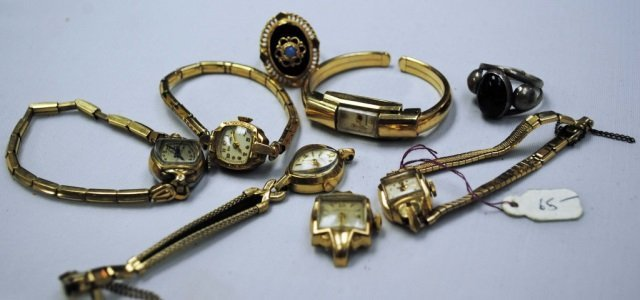 6 Ladies Dinner Watches and 2 Rings