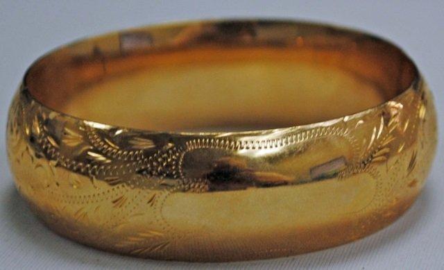 Wide 14K Gold Hinged Bangle