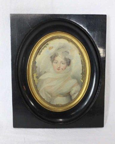 Antique Portrait Miniature on Tin
