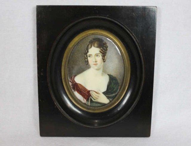 Antique Portrait Miniature On Ivory