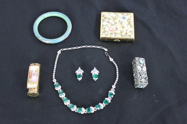 Costume Jewelry Signed Pennino, Compact, Lipsticks