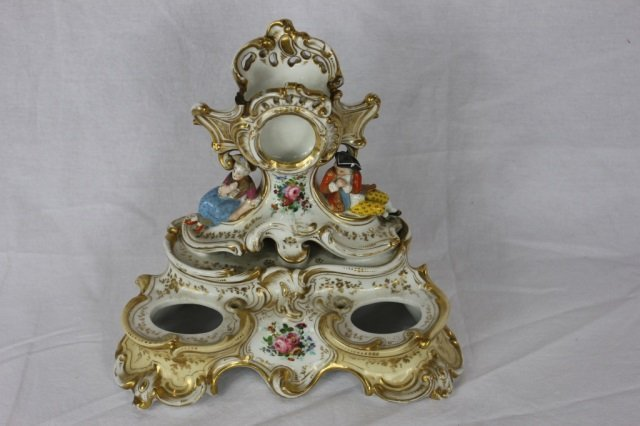 Rococo Double Porcelain Inkwell