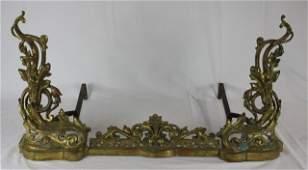 French Rococo Gilt Bronze Ormolu Fire Fender