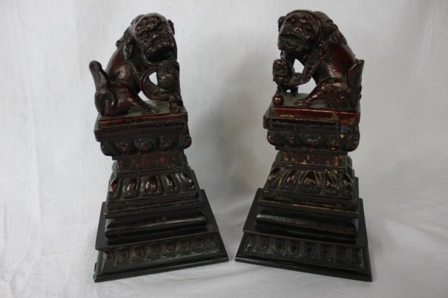 Pair Carved Wood Foo Lions on Bronze Bases