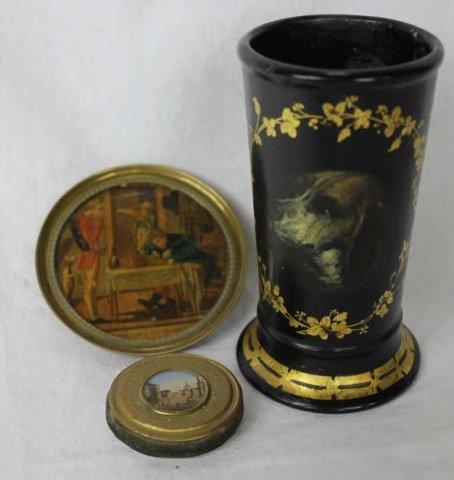 Victorian Papier Mache Painted Vase & Miniatures