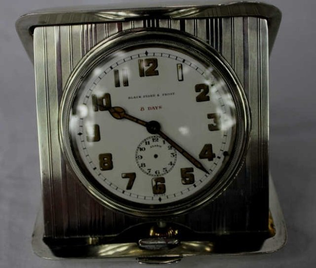 Black Starr and Frost 8 Day Silver Clock