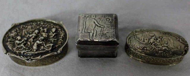 Three Dutch & English Silver Boxes