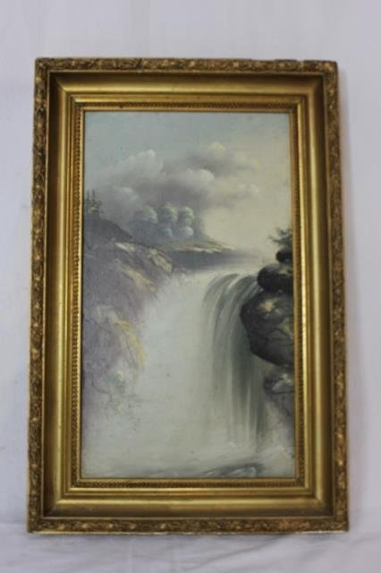 Victorian Gilt Framed Oil Painting - Waterfall