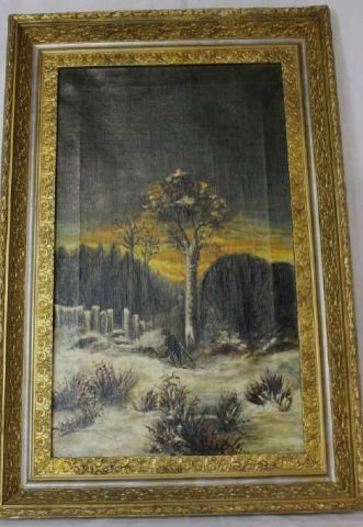 Large Victorian Gilt Framed Oil - Sunset Landscape