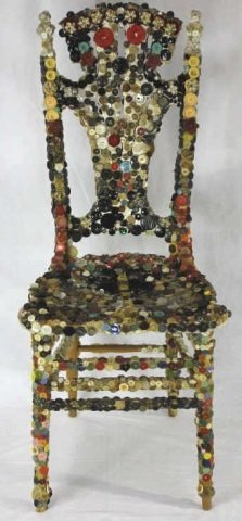 Folk Art Americana Outsider Art Button Chair