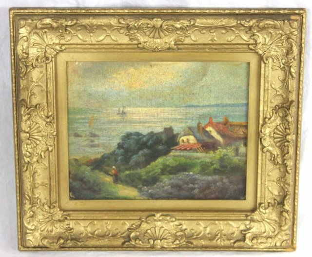 Oil Painting - Coastal Landscape w/ Cottage