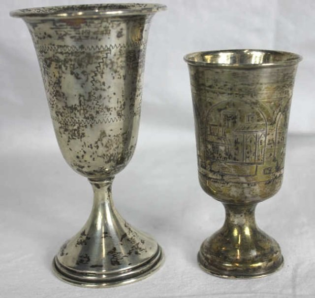 Two Judaica Sterling Silver Goblets