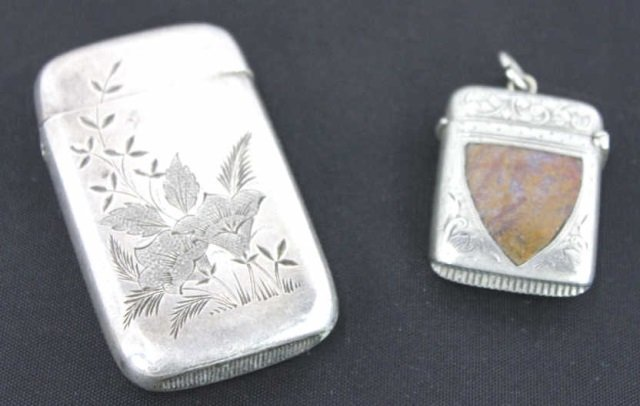 Two Antique Sterling Silver Match Boxes