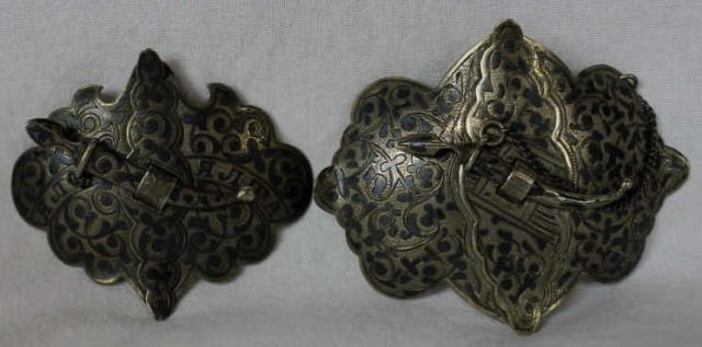 Two Russian Silver Niello Buckles