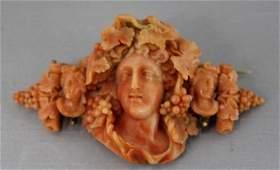 Antique Carved Coral Bacchus Dionysus Gold Brooch