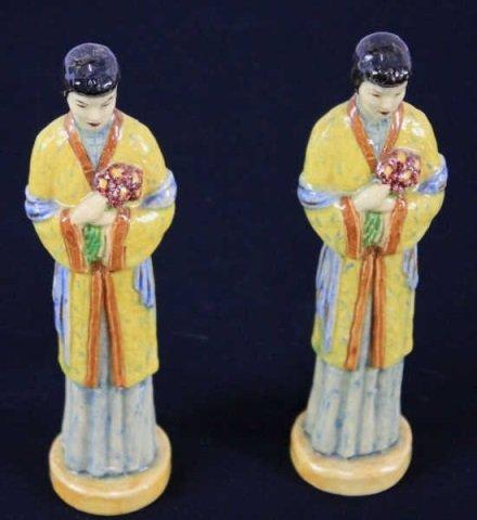 Pair Vintage Chinese Porcelain Figurines of Ladies