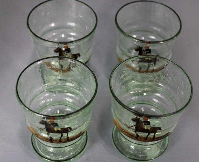 Four Enamel on Glass Cups Polo Scenes