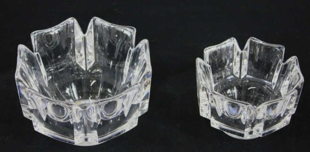 Two Contemporary Modern Orrefors Cyrstal Bowls