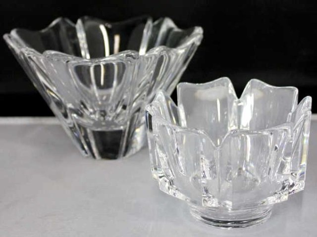 Two Orefors Contemporary Modern Cut Crystal Bowls