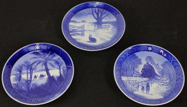 Three Blue Royal Copenhagen Plates 1971 / 72 / 73