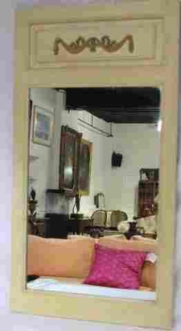 Vintage French Trumeau Style White & Gold Mirror
