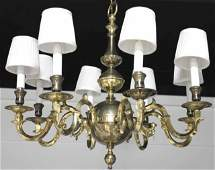 Dutch Colonial Style Brass Eight Arm Chandelier