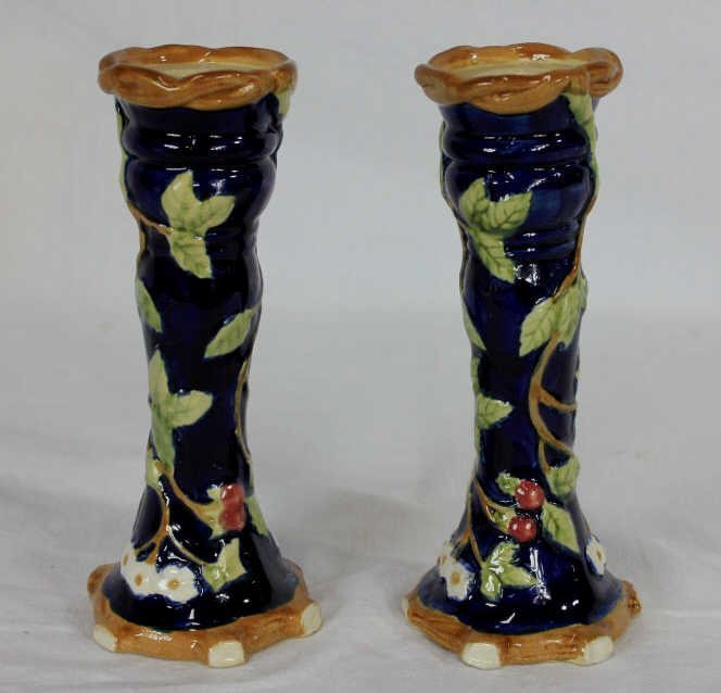 Pair Majolica Arts & Crafts Style Candlesticks