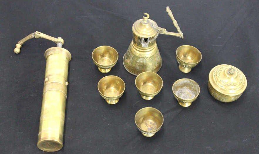 Metal Turkish or Persian Coffee Service & Grinder