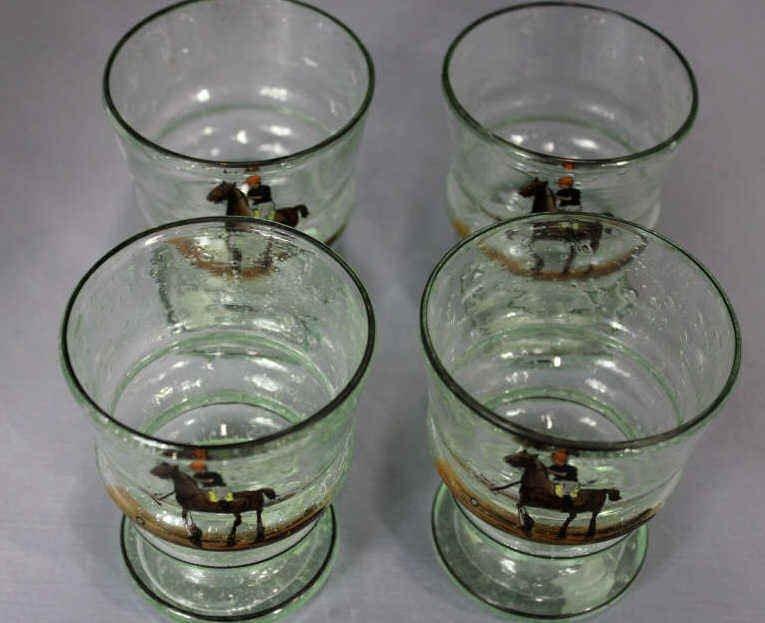 Four Enamel on Glass Cups - Polo Scenes