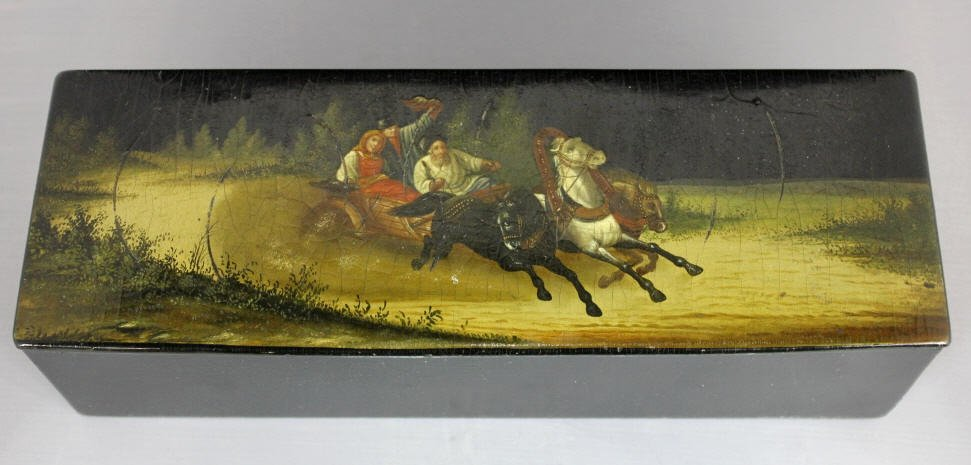 Antique Troika Russian Lacquer Box