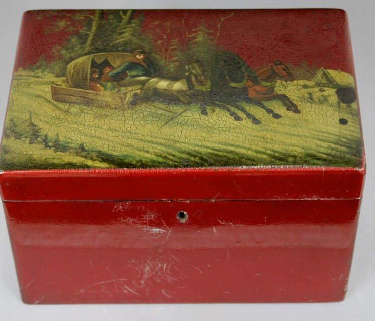 Antique Russian Lacquer Tea Caddy