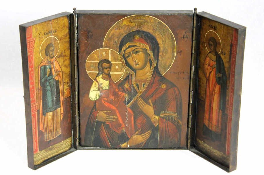 """Russian Icon Triptych """"Three Hands"""" Late 19th Cent"""