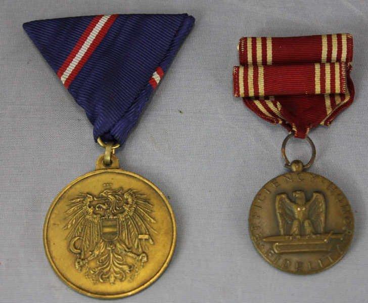 Antique American & Austrian War Medal Badges