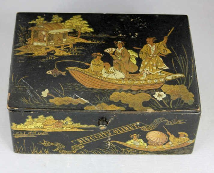 French Bisquits Olibet Japanese Lacquer Style Box