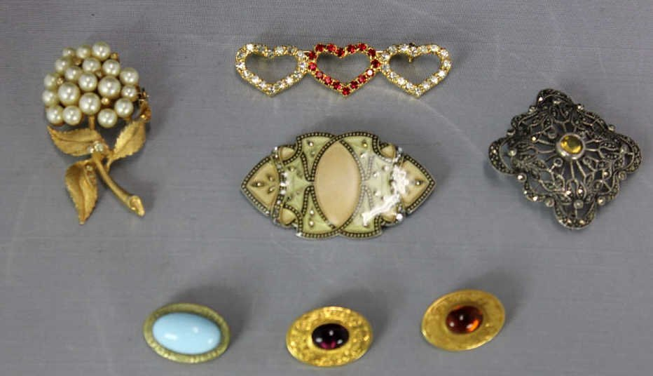 6 Costume Jewelry & 1 Sterling Pin Brooches