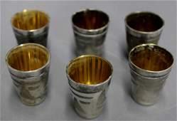 Set of Six Silver Plate & Vermeil Vodka Cups