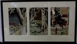 3 Antique Japanese Prints Framed Together