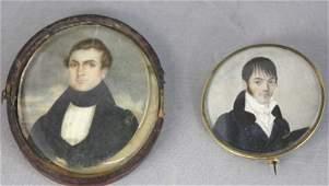 Two Antique Portrait Miniatures on Ivory