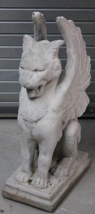 Large Pair Concrete Griffin Lion Statues Lot 528