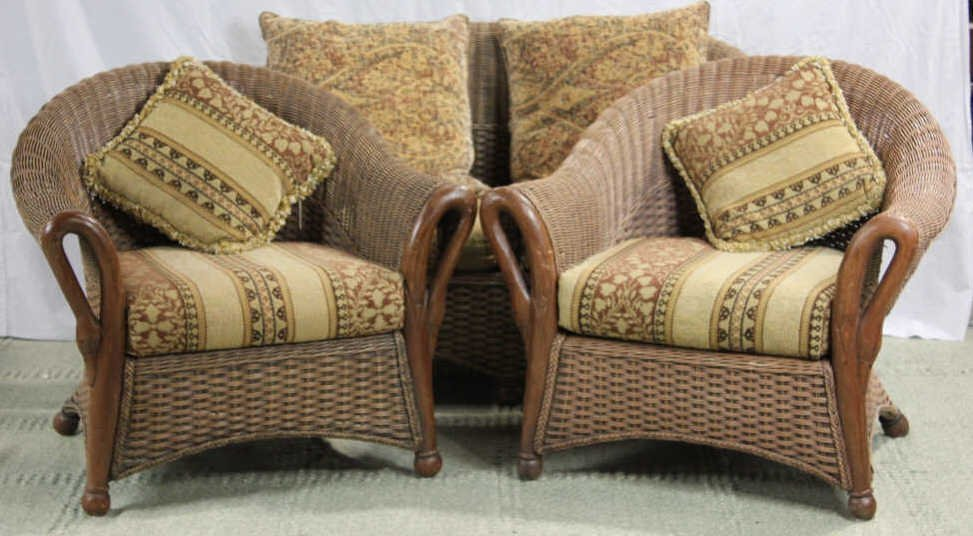 Three Piece Swan Arm Wicker Patio Set