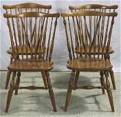 Four Oak Windsor Back Ethan Allen Chairs