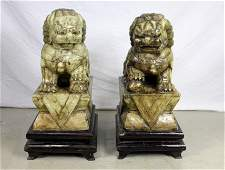 Pair Chinese Oriental Carved Jade Foo Lions