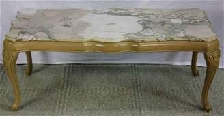 Mid Century Louis XV Marble Coffee Table