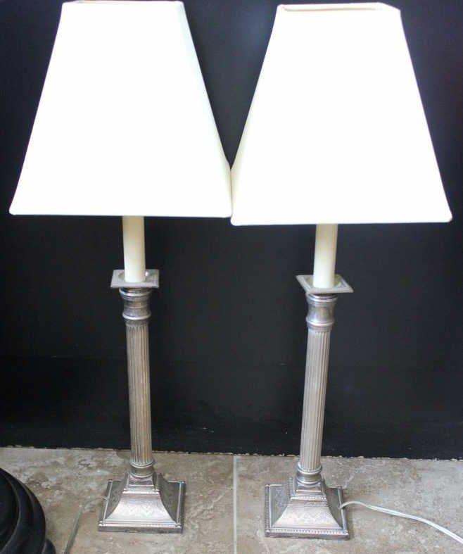 Pair Column Form Silver Plate Candlestick Lamps