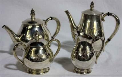 Royal Danish Four Piece Tea Set Sterling Silver